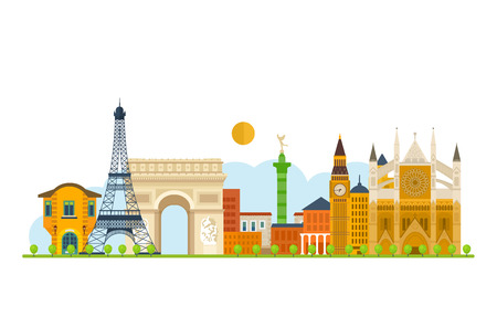 dame: Travel to Europe. French and England landmarks. Travel to France. Eiffel tower, Notre Dame in Paris, France. London travel. Historical and modern building. Vector illustration Illustration