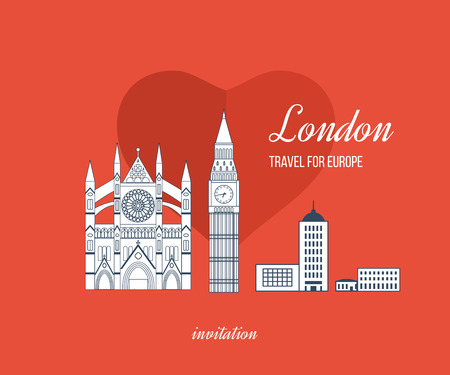 abbey: London, United Kingdom flat icons design travel concept. London travel. Historical and modern building. Vector illustration