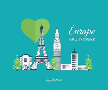 tower: London, United Kingdom and France flat icons design travel concept. Travel to Europe for christmas. Invitation card with winter city life and space for text. Merry Christmas greeting card design. Illustration