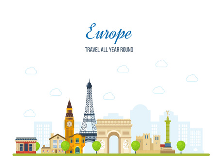notre: Travel to Europe. French and England landmarks. Travel to France. Eiffel tower, Notre Dame in Paris, France. London travel. Historical and modern building. Vector illustration Illustration