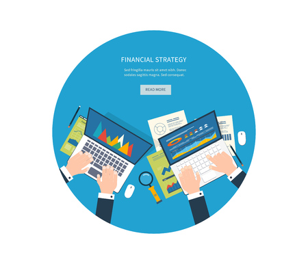 marktforschung: Flat design illustration concepts for business analysis, consulting, teamwork, project management, financial report and strategy, financial analytics, market research.