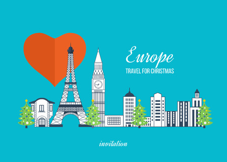 europe map: London, United Kingdom and France flat icons design travel concept. Travel to Europe for christmas. Invitation card with winter city life and space for text. Merry Christmas greeting card design. Illustration