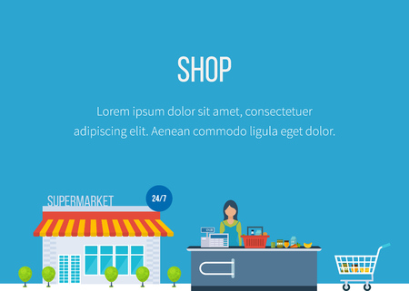food shop: Supermarket store concept with food assortment icons illustration vector. Shop grocery