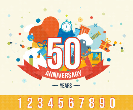 anniversaire: Célébration de l'anniversaire de joyeuses fêtes emblèmes fixés avec des rubans isolé illustration vectorielle. Affiche du 50e anniversaire. Conception de modèle anniversaire