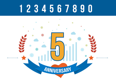 5th: Anniversary happy holiday celebration emblems set with ribbons isolated vector illustration. 5th Anniversary poster. Anniversary template design Illustration