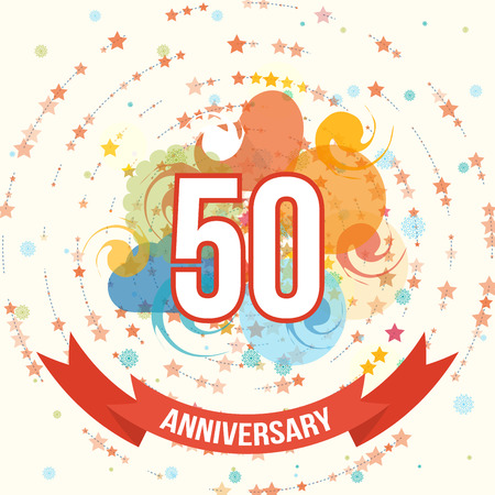 50th: Anniversary happy holiday celebration emblems set with ribbons isolated vector illustration. 50th Anniversary poster. Anniversary template design