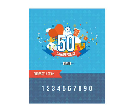 50th: Anniversary happy holiday celebration emblems set with ribbons isolated vector illustration. 50th Anniversary poster. Anniversary template design. Flyer, Poster, Brochure Design Templates.
