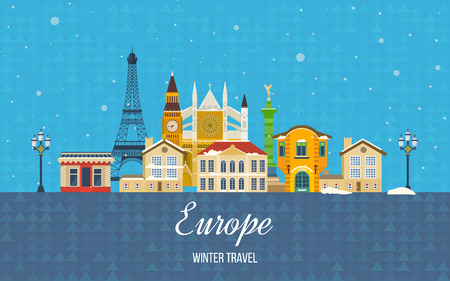 europe cities: London, United Kingdom and France flat icons design travel concept. Travel to Europe for christmas. Invitation card. Travel to Europe for winter. Merry Christmas greeting card design.