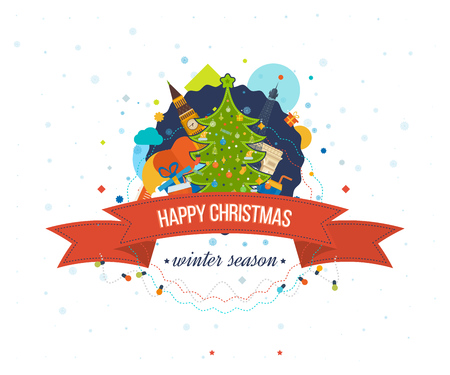 travel star: Happy new year 2016 creative greeting card design. Merry Christmas greeting card design. Decorated Christmas tree with a star. Travel to Europe for christmas. Illustration
