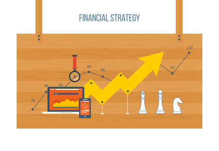 financial growth: Flat design modern vector illustration concept of financial report and strategy, financial analytics. The strategy of a successful business. Schedule revenue growth Illustration