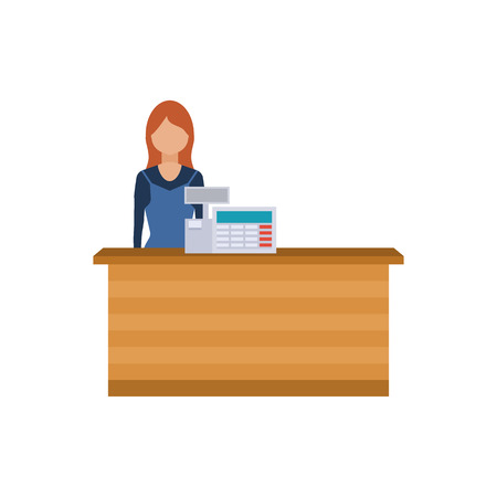 sales clerk: A Young cashier woman standing in supermarket. Sales clerk working with customers at the technology store or department. Flat illustration.