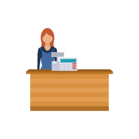 Młoda kobieta, stojąca kasjer w supermarkecie. Urzędnik sprzedaży współpracuje z klientami w sklepie technologii lub wydziału. Płaski ilustracji.