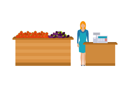 sales clerk: Young cashier woman standing in supermarket. Sales clerk working with customers at the technology store or department.  Flat illustration.