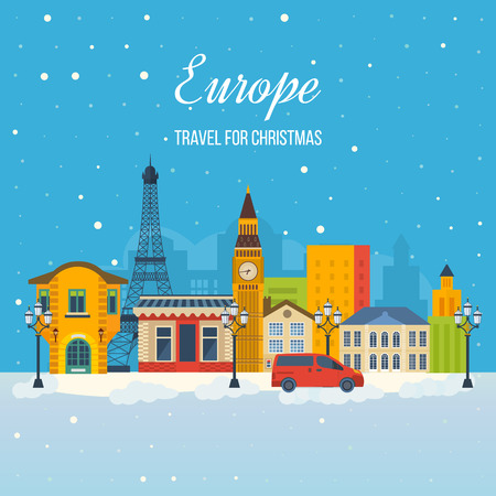 christmas stars: London, United Kingdom and France flat icons design travel concept. Travel to Europe for christmas. Invitation card with winter city life and space for text. Merry Christmas greeting card design. Illustration