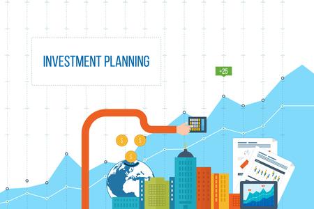 ビジネス分析と計画、財務報告戦略のフラットなデザイン図概念。ビジネス図グラフ。投資の成長。投資ビジネス。投資管理。