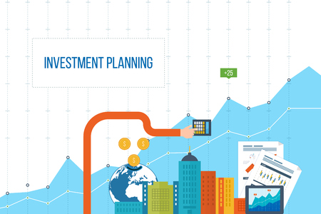 Flat design illustration concepts for business analysis and planning, financial report and strategy. Business diagram graph chart. Investment growth. Investment business. Investment management. Vettoriali
