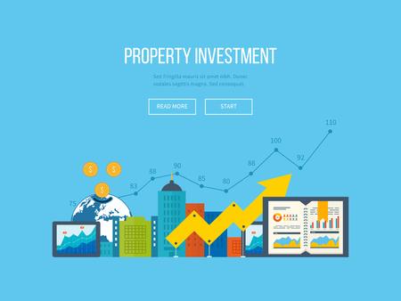 ビジネス分析と計画、財務報告戦略のフラットなデザイン図概念。ビジネス図グラフ。投資の成長。投資ビジネス。不動産投資