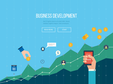 business development: Business development. Strategy of successful business development. Financial report and strategy. Business diagram graph chart. Investment growth. Investment business.
