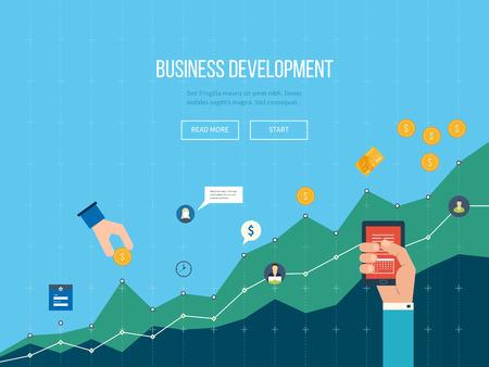 the diagram: Desarrollo de negocios. Estrategia de desarrollo de negocios con �xito. Informe financiero y estrategia. Diagrama del asunto de la carta del gr�fico. Crecimiento de la inversi�n. negocio de inversi�n. Vectores