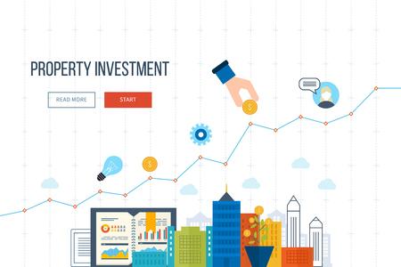 Flat line design concept for smart investment, finance, banking, market data analytics, strategic management, financial planning. Business diagram graph chart. Investment growth. Property investment Vectores