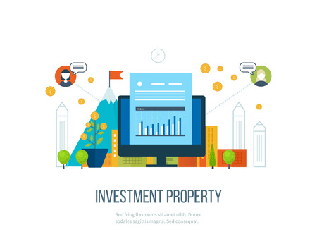 investment: Property investment. Business diagram graph chart. Investment growth. Investment business. Investment management. Financial strategy.  Smart investment, finance, banking, strategic management concept Illustration