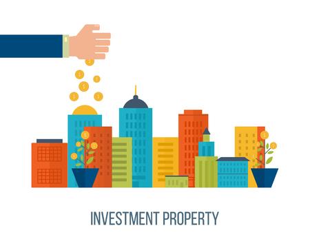 不動産投資。投資ビジネス。投資管理。財務戦略のコンセプトです。 スマートな投資、金融、銀行、市場データ分析、戦略的な管理の概念  イラスト・ベクター素材
