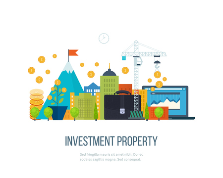 property development: Property investment. Investment business. Construction and Investment. Financial strategy concept. Business development, strategic management, finance, banking, market data analytics concept Illustration