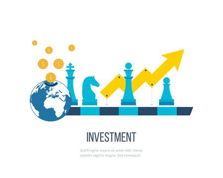 strategic management: Flat line design concept for investment, finance, banking, market data analytics, strategic management. Strategy for successful business. Investment growth. Investment business. Investment management. Illustration