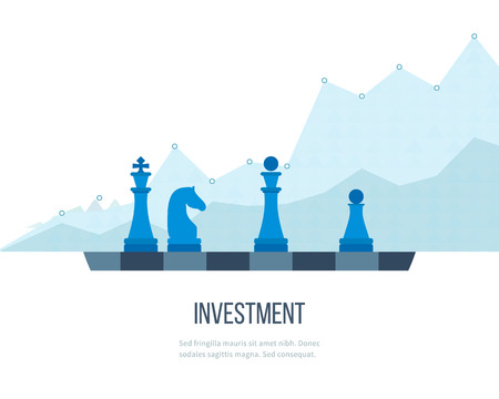 finances: Flat line design concept for investment, finance, banking, market data analytics, strategic management. Strategy for successful business. Investment growth. Investment business. Investment management. Illustration