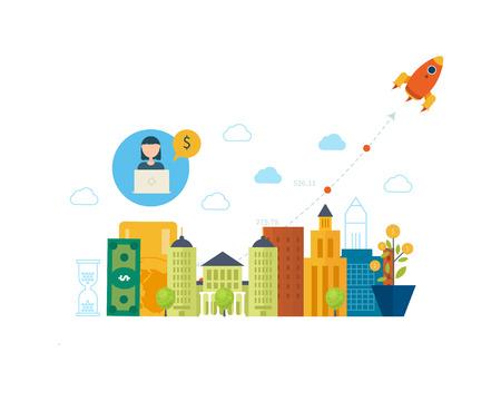 不動産投資。投資ビジネス。財務戦略のコンセプトです。事業開発、経営戦略、金融、銀行、市場データ分析概念。ビジネスを成功させるための戦  イラスト・ベクター素材