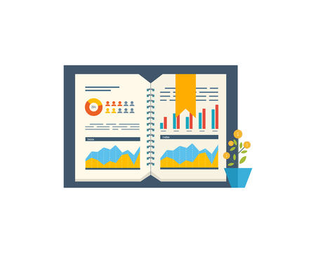 financial growth: Financial report and financial strategy. Business diagram graph chart. Investment growth. Investment business. Investment management. Flyer, Brochure Design Templates.