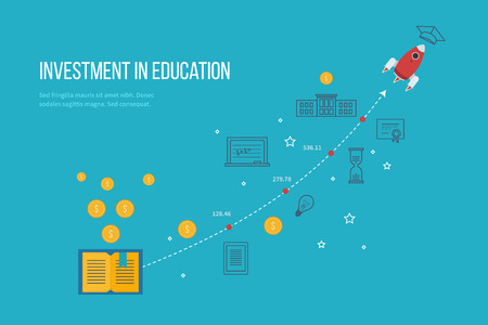 investment concept: Investment in education. Education concept. Strategy of successful learning.  Investment growth.  Investment growth.  Business development