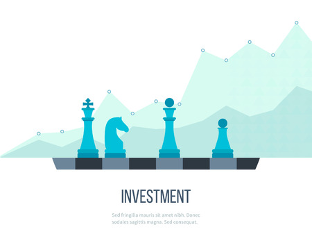 Flat line design concept for investment, finance, banking, market data analytics, strategic management. Strategy for successful business. Investment growth. Investment business. Investment management. Ilustração