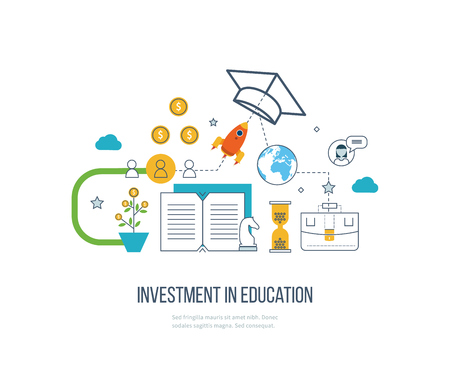 Investment in education. Education concept. Strategy of successful learning. Business development Vettoriali