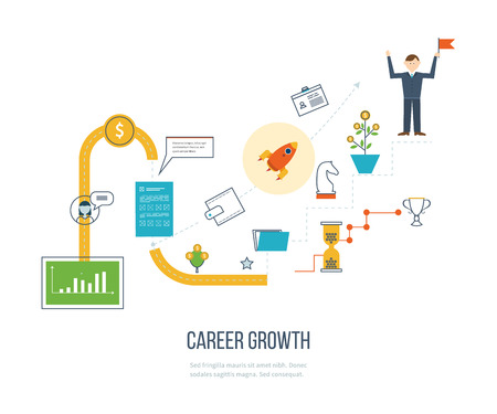 candidates: Career growth, selecting candidates, career ladder.  Financial strategy concept. Business development, strategic management, finance, banking, market data analytics concept. Strategy for successful business. Illustration