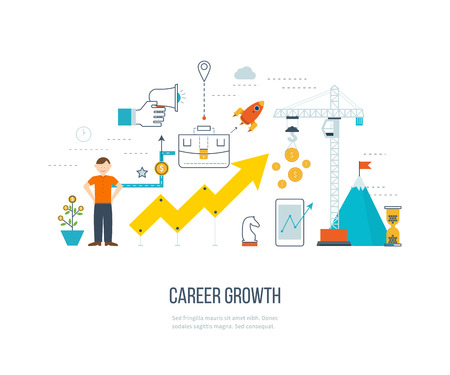 career development: Career growth, selecting candidates, career ladder.  Financial strategy concept. Business development, strategic management, finance, banking, market data analytics concept. Strategy for successful business. Illustration