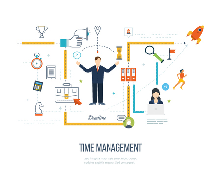 management concept: Time management concept planning, organization, working time. Concept of effective businessman who plans and organizes working time, deals deadlines. Flat vector illustration.