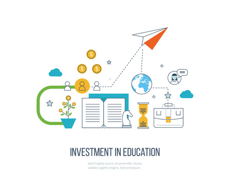 course development: Investment in education. Education concept. Strategy of successful learning. Business development Illustration