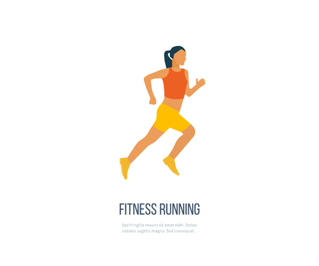 physical activity: Running woman. Modern flat vector icons of healthy lifestyle, fitness and physical activity. Healthy lifestyle and fitness concept. Illustration