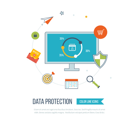 data line: Flat shield icon. Data protection concept. Social network security. Color line icons