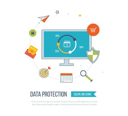 cronogramas: icono del escudo plana. concepto de protección de datos. seguridad de la red social. iconos de líneas de color