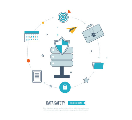 investment security: Data protection and safe work. Data safety. Internet security. Investment security. Information security.  Thin line icons.