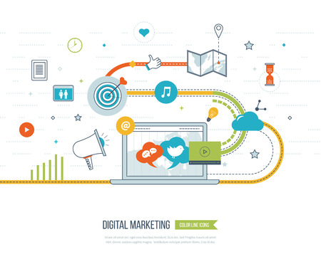디지털 마케팅 및 웹 및 인포 그래픽을위한 소셜 네트워크 개념입니다. 팀웍과 통신. 소셜 미디어 개념입니다. 마케팅 전략. 마케팅 계획