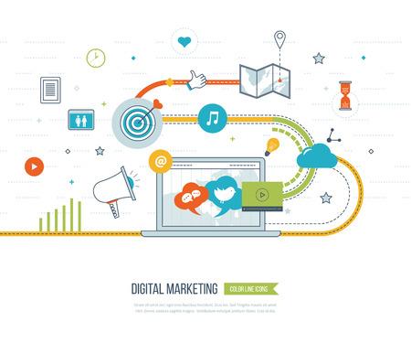 El marketing digital y social concepto de red para la web y la infografía. El trabajo en equipo y la comunicación. concepto de medios de comunicación social. Estrategia de mercadeo. Plan de marketing Ilustración de vector