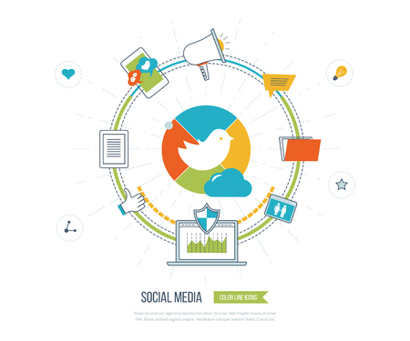 Communication strategy: Online communication and social media concept. Social network. Investment management. Data protection. Flat shield icon. Investment growth. Strategy for successful business. Color line icons