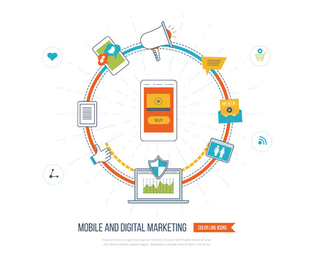 mobile marketing: Digital and mobile marketing concept. Social network. Investment management. Data protection. Flat shield icon. Investment growth. Strategy for successful business. Color line icons Illustration