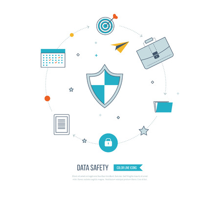 investment security: Flat shield icon. Data protection and safe work. Data safety.  Internet and information security. Investment security.  Thin line icons. Illustration