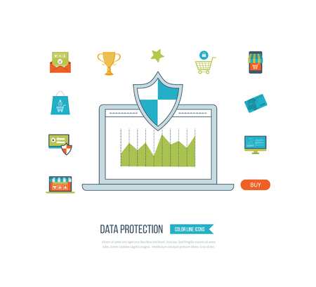 investment security: Flat shield icon. Data protection concept. Social network security. Investment security. Mobile marketing and security online shopping. Graph of growth in investment. Thin line icons.