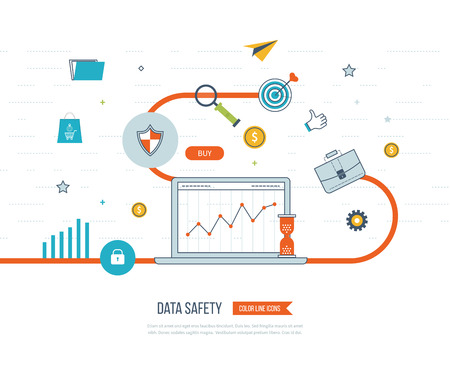 investment security: Data protection and safe work. Business protection. Flat shield icon. Data safety. Investment security. Investment growth. Investment management. Strategy for successful business. Color line icons Illustration
