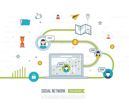 social worker: Social network and teamwork concept for web and infographic. Teamwork and communication. Social worker. Data protection and safe work. Social media concept. Investment management.